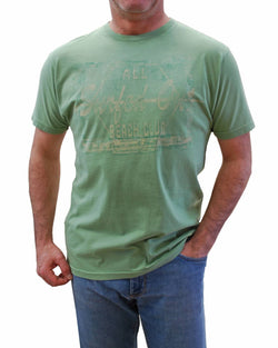 Tasso Elba Mens New 100% Cotton Short Sleeve Surfed Out Island T-Shirt Green (M)