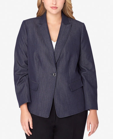 Tahari ASL Women's One Button Plus Size Denim Blazer , Chambray 18W