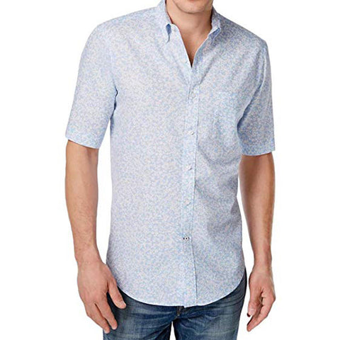 Club Room Men's Linen Cotton Floral Print Short Sleeve Shirt, Blue, XL