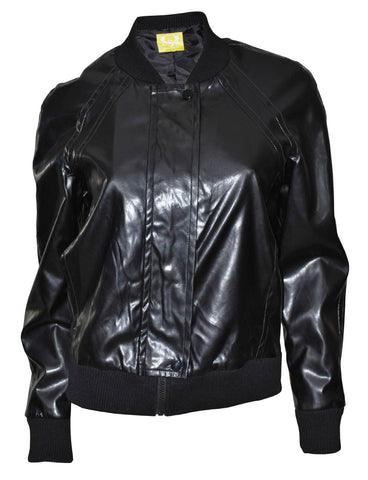 QMack Women`s Jacket,  Zip front  Faux Leather Bomber, Black