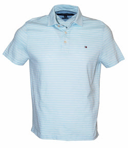 Tommy Hilfiger Men's Classic Fit Striped Short Sleeve Polo Shirt, Blue, S