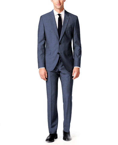Hugo Boss Men's Mini Grid Wool Extra Slim Fit Suit 44Rx38W C-Jeffery/C-Simmons