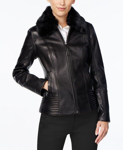 Jones New York Women's Faux Fur Collar Leather Jacket, Black, XS