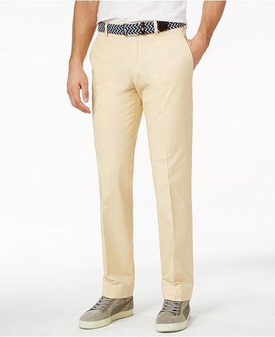 Bar III Men's Khaki Solid Cotton Slim-Fit Pants (Beige, 38x30)
