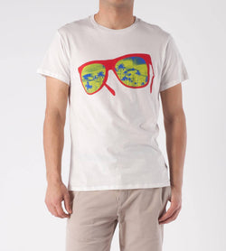 Threads 4 Thought Men`s Tee Crew Neck White Organic Cotton Sunglasses T-Shirt L