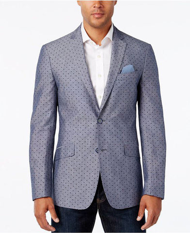 Tallia Men's Slim Fit Dot Print Two Button Chambray Sport Coat, Denim Blue