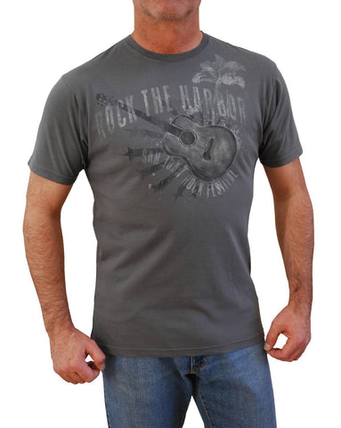 Tasso Elba Men`s Tee Short Sleeve Guitar Print Island Graphic T-Shirt Grey (S)