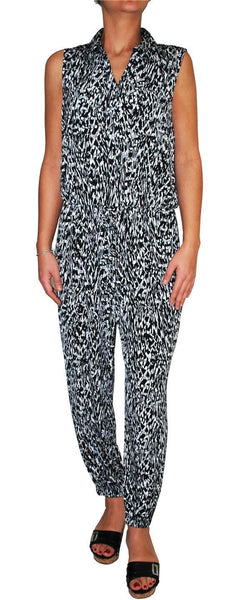 Alfani Women's Animal Print Point Collar Sleeveless Jumpsuit (Black/White, M)