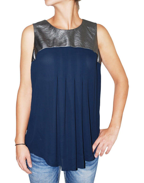 Alfani Women's Faux Leather Trim Sleeveless Pleated Blouse (Navy, 4)