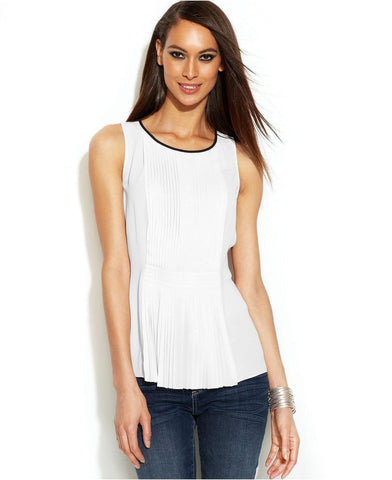 INC Women's Top Scoop Neck Sleeveless Pleated Front Blouse (White, 16)