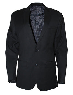 Bar III Men's Two Button Peak Lapel Solid Texture Sport Coat, Black 38R