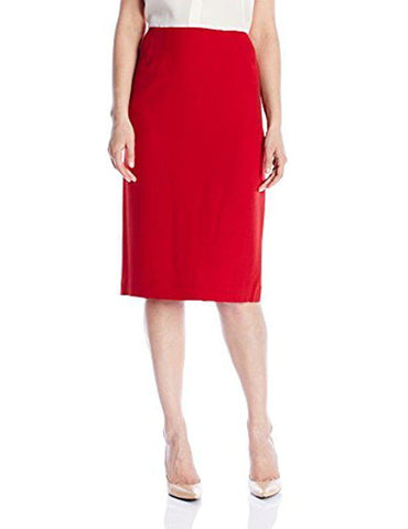 Kasper Women's Plus Size Stretch Crepe Skimmer Skirt (16W, Red)