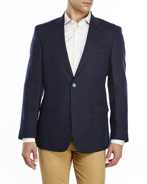Tommy Hilfiger Men's Gibbs Slim Fit Linen Sport Coat, Navy