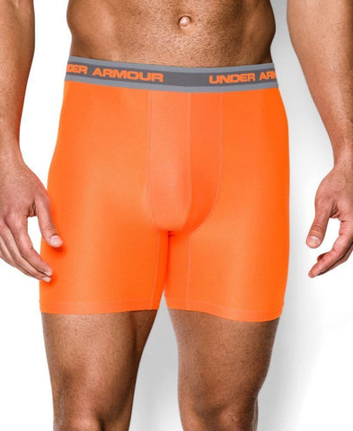Under Armour Men's Mesh Performance Boxerjock Boxer Brief 2-Pack (Orange, L)