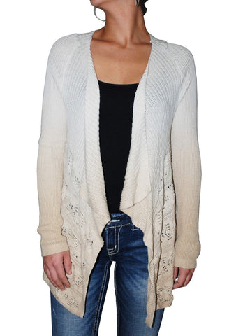 INC Women's Long Sleeve Open Front Draped Dip-Dye Cardigan (XS, Beige)