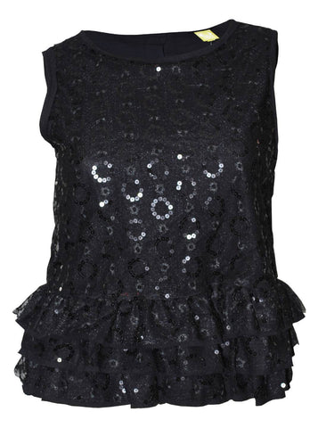QMack Women`s Top Sleeveless Sequin Ruffle Blouse Black