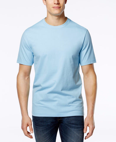 Club Room Men's Paxton Cotton  Solid Crew Neck T-Shirt, Pale Ink Blue , S