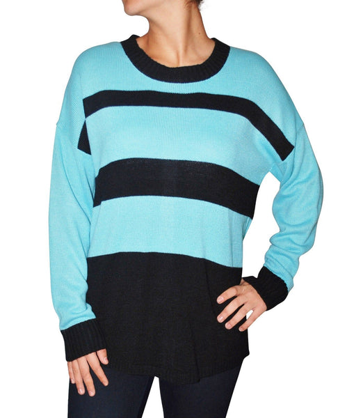 AGB Women`s Sweater Acrylic Long Sleeve Crewneck Striped Pullover Black / Blue XL
