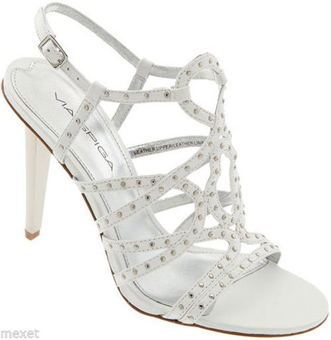 NEW VIA SPIGA WOMENS MELODY WHITE LEATHER ANKLE STRAPS HEELS SHOES SANDALS 7.5