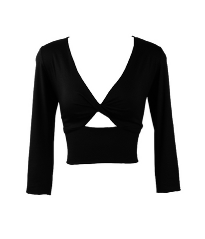 Black Twist Bodice Top