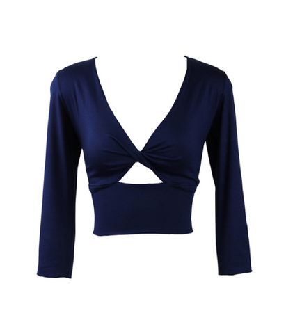 Deep Blue Twist Bodice Top