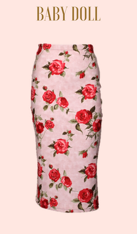BABY DOLL Rouge Rose Wiggle Skirt