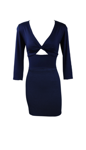 Deep Blue Twist Bodice Mini Dress