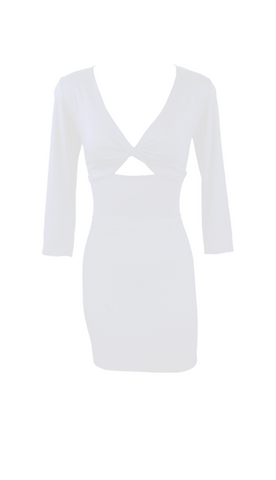 Iceberg White Twist Bodice Mini Dress