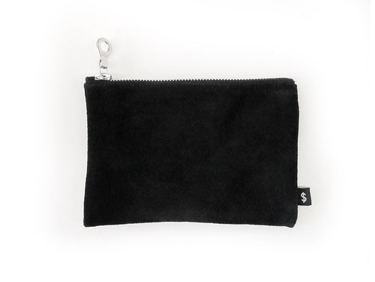 J. MONEY - GRANDE ZIP WALLET - BLACK SUEDE