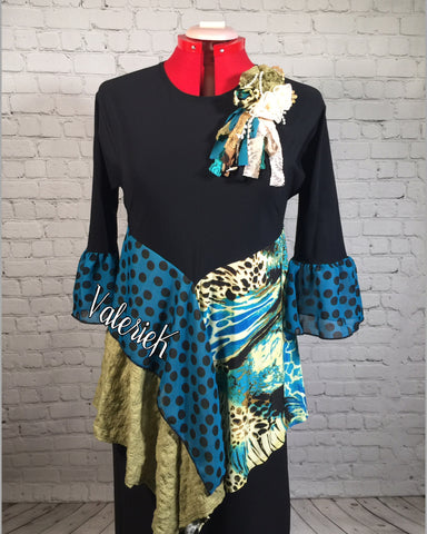Aurora Aqua Animal Print Tunic Top