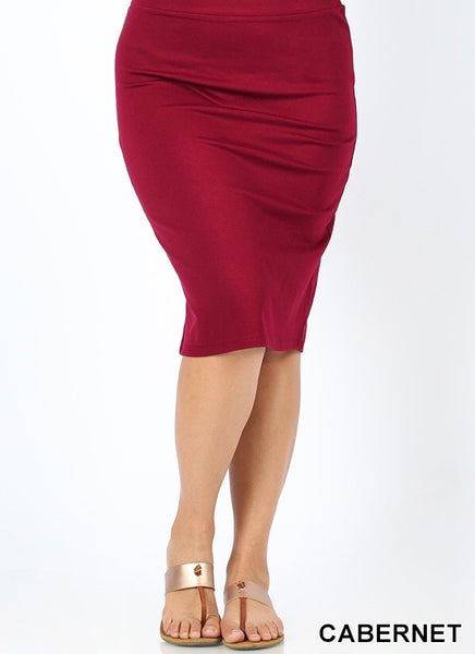 Solid pencil skirt