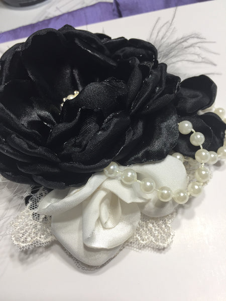 Black and cream Corsage pin/hair piece barrette or headband