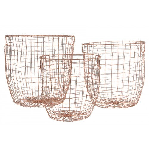 Round Wire Copper Basket Large