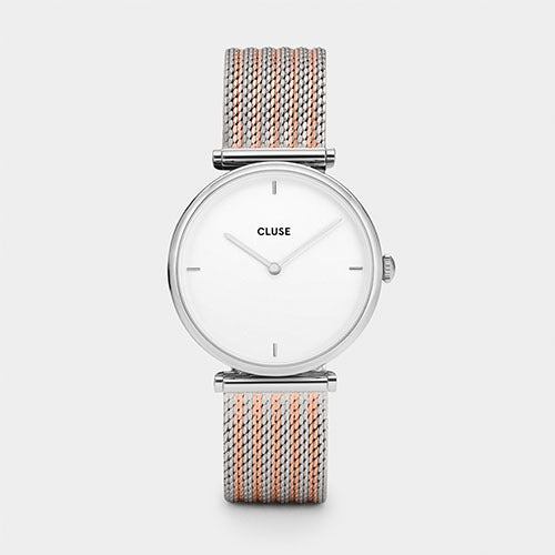 Triomphe Silver Bicolor Mesh Watch