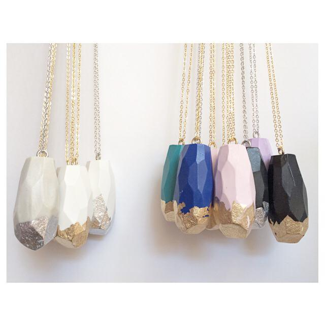 Faceted Necklace- Silver Dipped