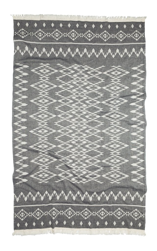 Oteki Kilim Charcoal Turkish Blanket