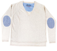 V-Neck Jumper Natural with Blue/White Stripe Patches