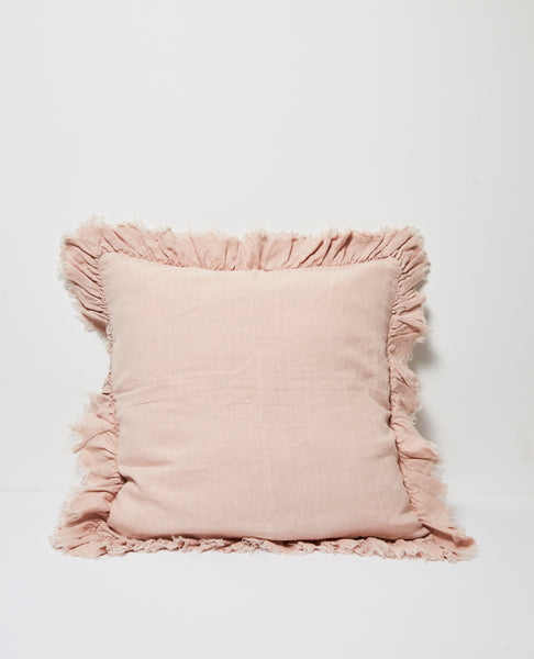Agnes Linen Cushion Ruffle Edging - Blush