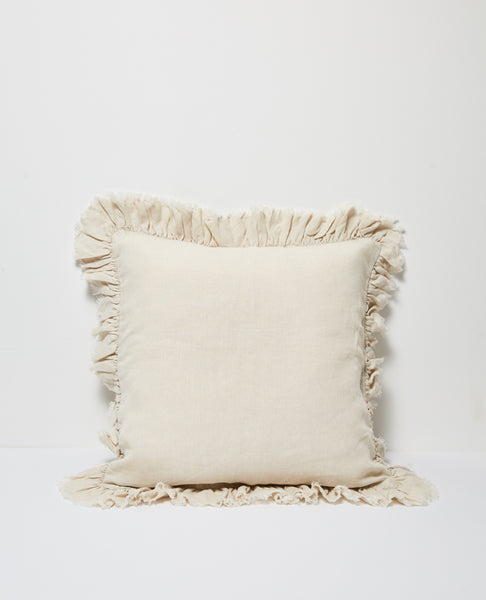 Agnes Linen Cushion Ruffle Edging - Flax