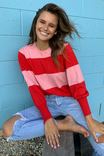 Bishop Stripe Crew Cotton Cashmere / Red Pink Stripe