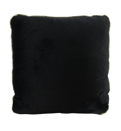 Coco Velvet Cushion - Black (Gold Piped)
