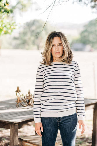 Ivory + Navy Stripe Breton Crew + Pink Patches