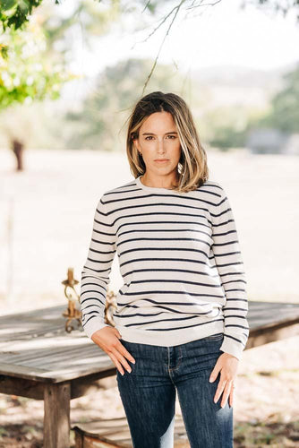 Ivory + Navy Stripe Breton Crew + Denim Patches