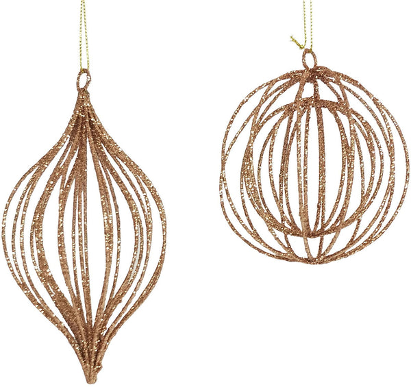 Rose Gold Glitter Wire Hanging Bauble - Teardrop