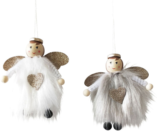 Little Fluffy Angel Hanging Decoration - Grey