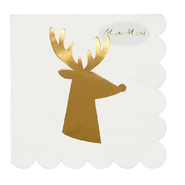 Gold Reindeer Small Napkins