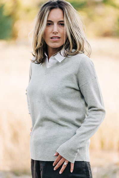 Light Grey V Neck Jumper