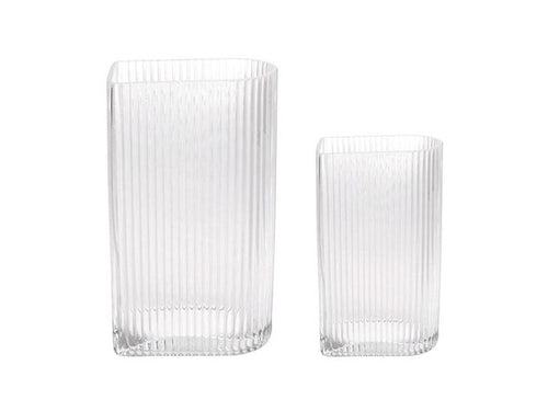 Clear Ribbed Vases (Various Sizes)