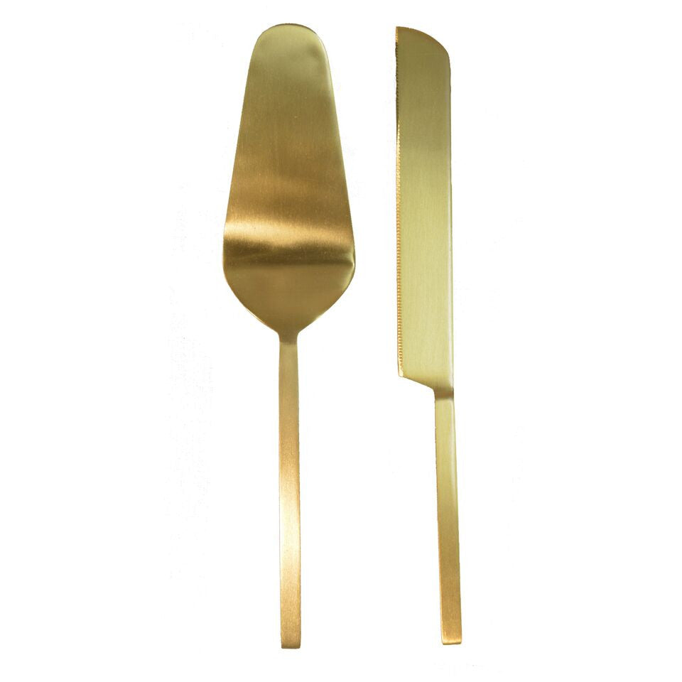 Cake Knife Set Gold