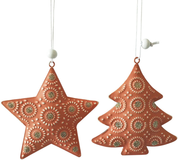 Metal Star Hanging Decoration - Peach